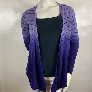 Worthington Purple Striped ombre Cardigan size: M